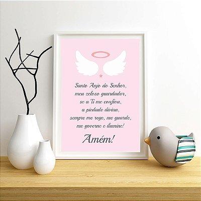 Quadro Infantil Menina Oração Santo Anjo