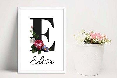 Quadro Quarto de Menina tema floral com nome personalizado