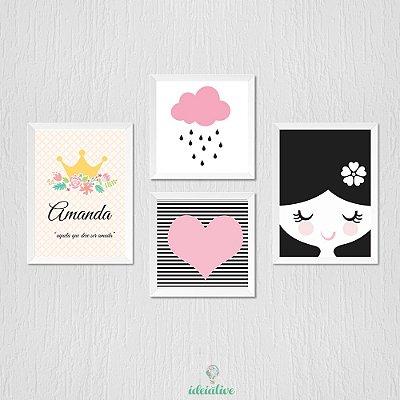 Quadro Menina, coração, chuva de amor e nome personalizaod