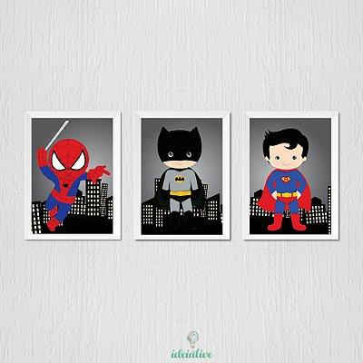 Quadro Infantil Menino Super Heróis, Homem Aranha, Batman e Super Homem