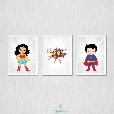 Quadro Infantil Heróis, Super Homem e Mulher Maravilha