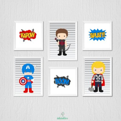 Quadro infantil menino super herois vingadores