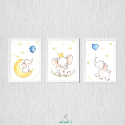 Quadro Infantil Elefantinho e Balão Aquarela