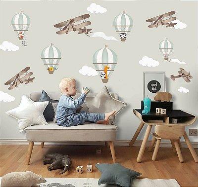 Adesivo Quarto Infantil Avião e Nuvens