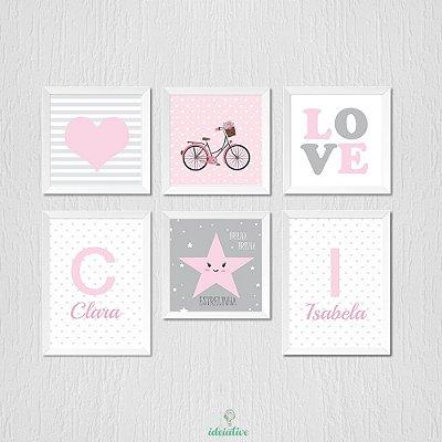 Kit Personalizado de Quadros Infantis e Adesivo Decorativo Coração