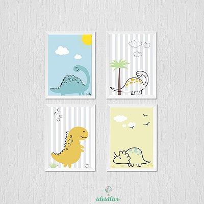Quadro Dinosssauro Estilo Ilustração