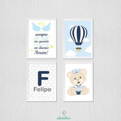Quadro Infantil Menino Ursinho Marinheiro, Oração e Balão
