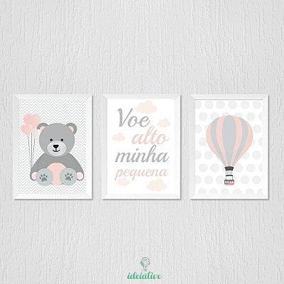 Quadro para Quarto de Menina Ursinha, Balão e Voe Alto Minha Pequena