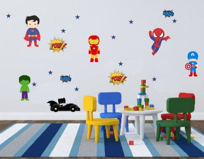 Adesivo Infantil Super Heróis Cute