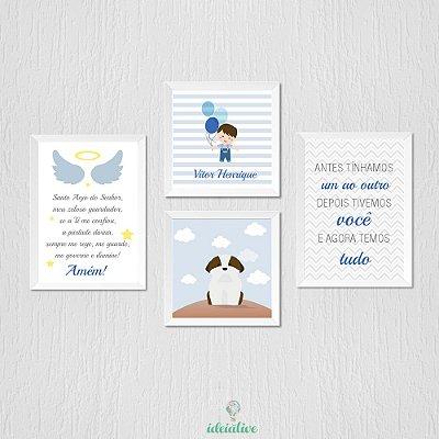 Quadro Infantil Quarto de Menino com Oração do Santo Anjo