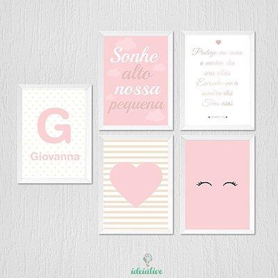Quadro Infantil Quarto de Menina em Rosa e Branco