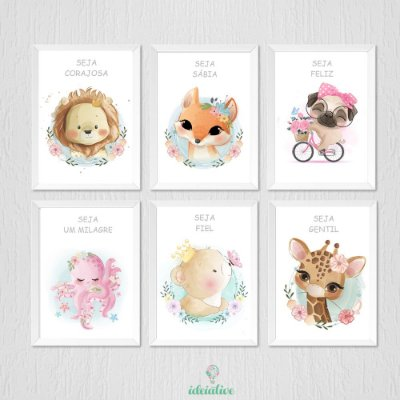 Quadro Infantil Animais Cute