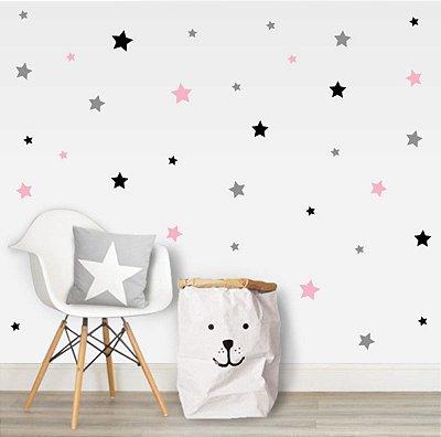 Adesivo quarto de menina estrela rosa, preta e cinza