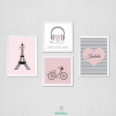 Quadros menina Paris, fone, bicicleta, nome personalizado
