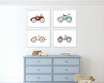 Quadro infantil menino carros antigos