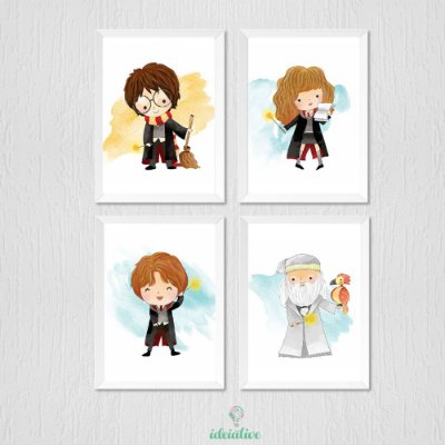 Quadro Infantil Harry Potter - kit com 4