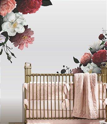 Adesivo de Parede Flores Peonias e Rosas