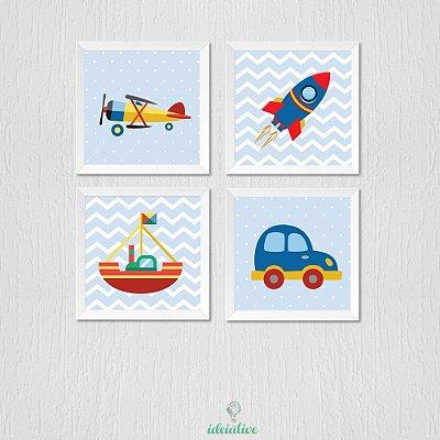 Quadro Avião, Foguete, Barco e Carro