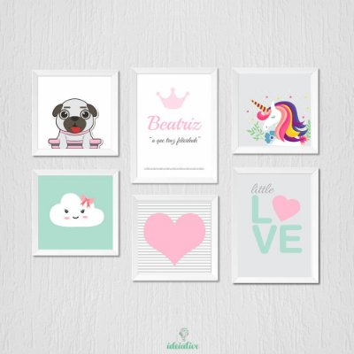 Quadro Infantil Unicórnio, Love, Pug