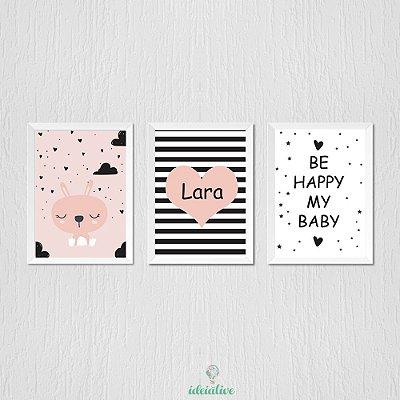 Quadro Infantil Coelhinha, Coração e Be Happy