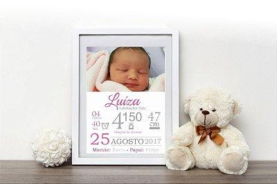 Quadro com dados do nascimento menina