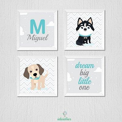 Kit de quadros cachorrinhos