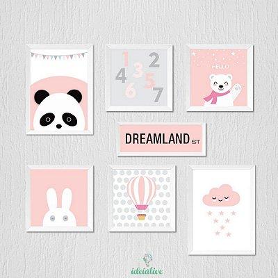 Quadro Panda Dreamland - Decoração Menina