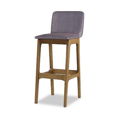 Banqueta Forza em madeira assento Estofado Cinza Grafiatto COD. 4.2.487