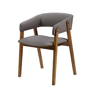 Cadeira Contemporanea cor Castanho Assento E Encosto Estofado cinza COD. 4.2.921