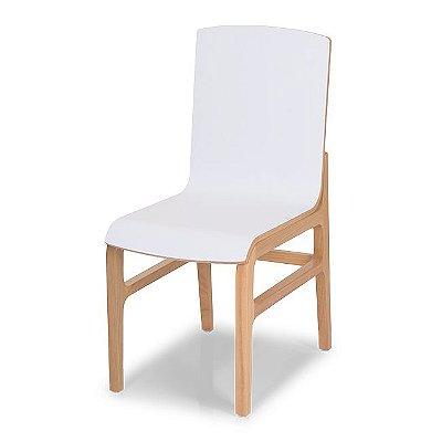 Cadeira Flux Cor Natural Assento E Encosto Cor Branco