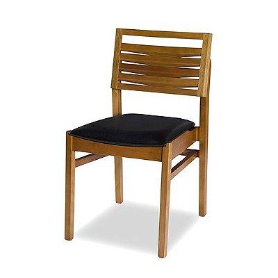 Cadeira Malta Encosto em Madeira / Cor Mel / Estofado Fit Modena Black 4.2.617
