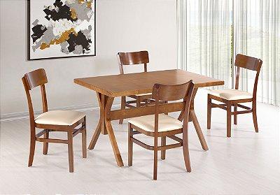 Conjunto Mesa Santiago 130x80 cm Com Cadeiras Portugal Cor Castanho