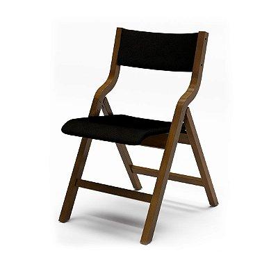 Cadeira Audace Dobrável Cor Castanho Assento E Encosto Estofado Dunas Preto 4.2.157