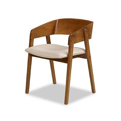 Cadeira Contemporanea Assento estofado e Encosto Madeira