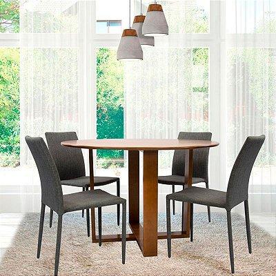 Conjunto Sala De Jantar E Cozinha Mesa Stabile Ø120cm | 4 Cadeiras Glam em linho cor Cinza claro