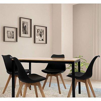 Conjunto Sala De Jantar E Cozinha Mesa Solin 120 x 80 cm com 4 Cadeiras Joly cor Preta