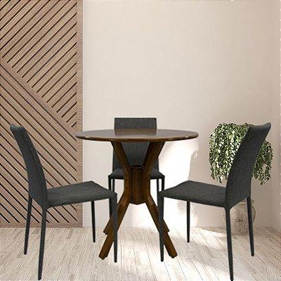 Conjunto Sala De Jantar e Cozinha Mesa Santiago Ø70cm Com 3 Cadeiras Glam em linho cor Cinza claro
