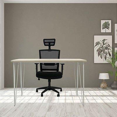 Mesa e Cadeira New Ergon com encosto de cabeça para Home Office