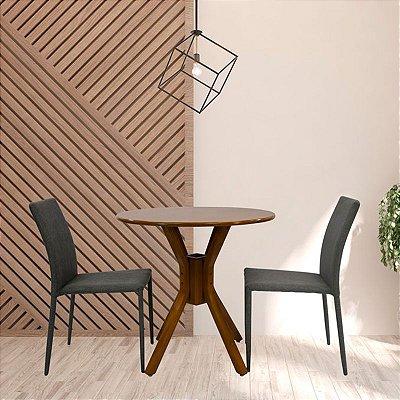 Conjunto Sala De Jantar e Cozinha Mesa Santiago Ø70cm Com 2 Cadeiras Glam em linho cor Cinza claro