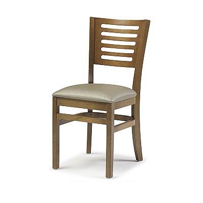 Cadeira Lina em madeira Cor Carvalho Assento Estofado