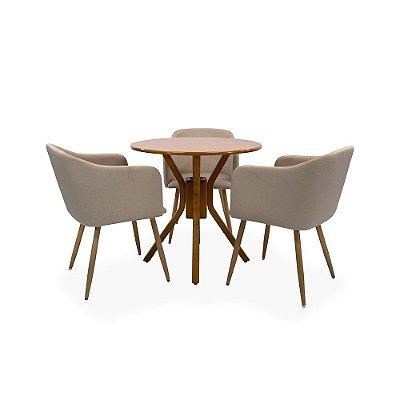 Conjunto Sala De Jantar e Cozinha Mesa Santiago carvalho Ø70cm Com 3 Cadeiras Charla Linho cor Bege Base Metal