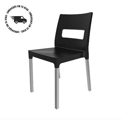 Cadeira VEZO ECO Preto com Pés Alumínio PRATA Fosco