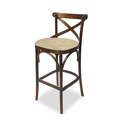 Banquetas Roterdã em madeira Assento Estofado Corano Beje cor 05 COD. 4.2.3