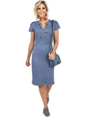 Vestido Malha Jeans | Linda Valentina | Moda Executiva