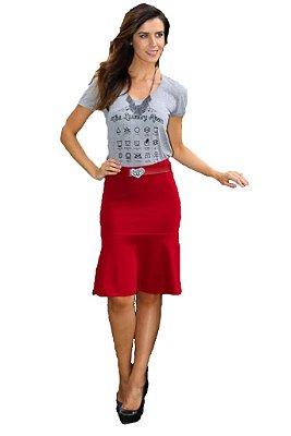 Saia Midi Bandagem Vermelha | Saiaria | Moda Evangélica