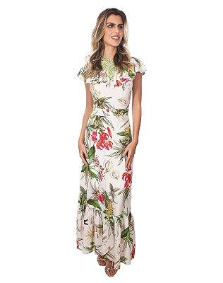 Vestido Longo Viscose Estampado Decote Gripir - 10155 - Joyaly