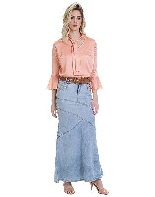 Saia Longa Jeans Larissa | Joyaly | Moda Evangélica