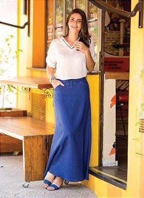 Saia Longa Lisa Linho | Joyaly | Moda Evangélica