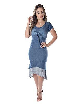 Vestido Denim Renata | Joyaly | Moda Evangélica