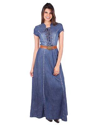 Vestido Longo com Ilhoses | Joyaly | Moda Evangélica